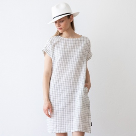 White Navy Checked Leinen Kleid Alice