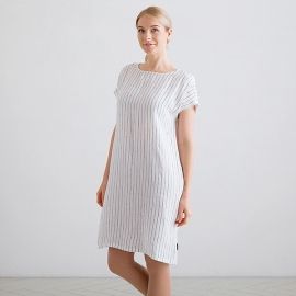 White Navy Stripe Medium Leinen Kleid Alice
