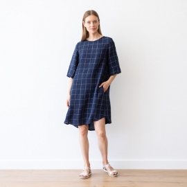 Navy Off White Window Pane Leinen Kleid Luisa