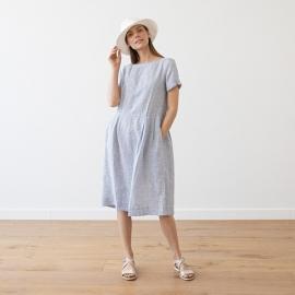 Navy Stripe Leinen Kleid Adel