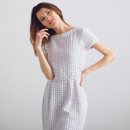 White Navy Checked Leinen Kleid Adel