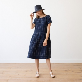 White Navy Window Pane Leinen Kleid Adel