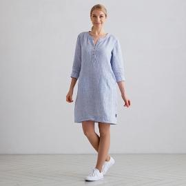 Blue Pinstripe Leinen Kleid Layla