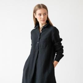 Schwarzes Leinen Kleid Camilla