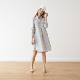 Silver Melange Leinen Kleid Camilla