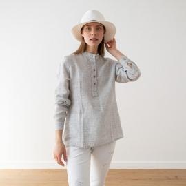 Silver Pinstripe Leinen Hemd Toby