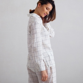 Off White Navy Window Pane Pyjama Leinen Alma