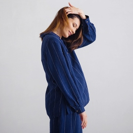 Navy Off White Stripe Large Pyjama Leinen Alma