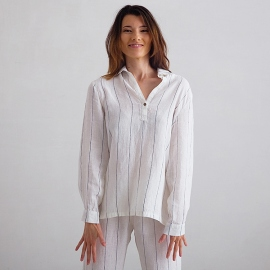 Off White Navy Stripe Large Pyjama Leinen Alma