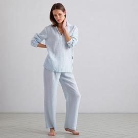 Sky Blue Pinstripe Pyjama Leinen Alma