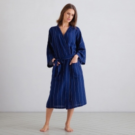 Navy Off White Large Stripe Bademantel Lang Leinen Alma