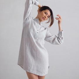 Silver Pinstripe Nachthemd Leinen Alma