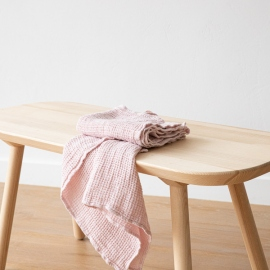 Leinen Waffel Big Handtuch Set Rosa