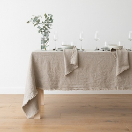 Natur Leinen Tischdecke Terra mit Handgemachten Fransen