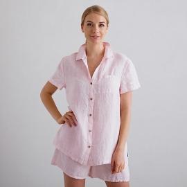 Pink Pinstripe Pyjama Leinen Emilia