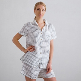 Off White Navy Check Pyjama Leinen Emilia