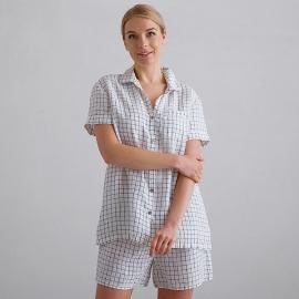 Off White Navy Check Pyjama Leinen Emilia