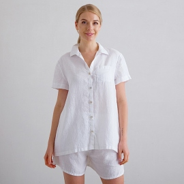 Weiss Pyjama Leinen Emilia