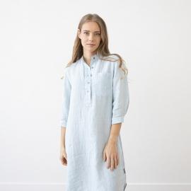 Sky Blue Melange Leinen Nachthemd Veronica