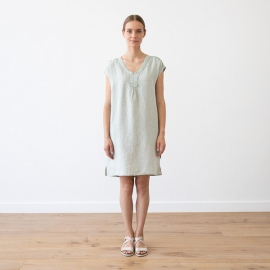 Moss Green Melange Leinen Kleid Alice