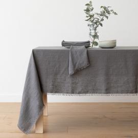 Graphit Leinen Tischdecke Terra mit Handgemachten Fransen