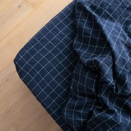 Leinen Bettlaken Mit Gummizug Window Pane Washed Navy White