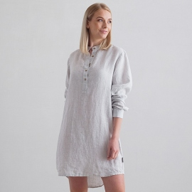 Silver Stripe Nachthemd Leinen Alma