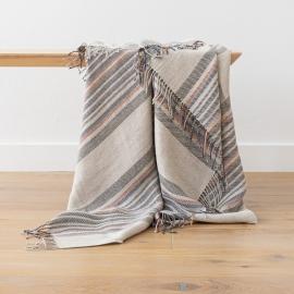 Natural Indigo Stripe Leinen Decke Paolo