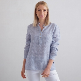 Navy Stripe Leinen Hemd Toby