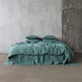 Moss Green Leinen Bettbezüge Stone Washed