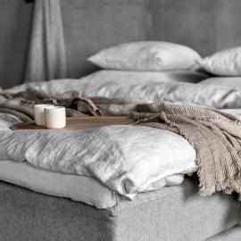 Silver Leinen Bettlaken mit Gummizug Stone Washed Rhomb