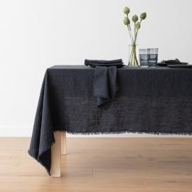 Charcoal Leinen Tischdecke Terra mit Handgemachten Fransen