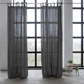 Leinen Vorhang mit Schlaufen Natural Black Rustico Washed