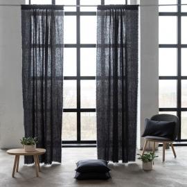 Leinen Vorhang mit Tunnelzug Charcoal Terra Fringe