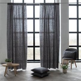 Leinen Vorhang mit Tunnelzug Graphite Terra Fringe
