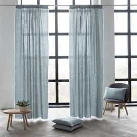 Leinen Vorhang mit Tunnelzug Ice Blue Terra Fringe