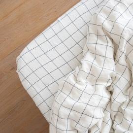 Leinen Bettlaken Mit Gummizug Window Pane Washed White Navy