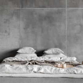 Silver Leinen Bettset Stone Washed Rhomb