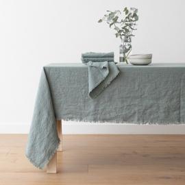 Spa Grün Leinen Tischdecke Terra mit Handgemachten Fransen