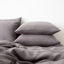 Gewaschene Bettwäsche Kopfkissenbezug Graphite