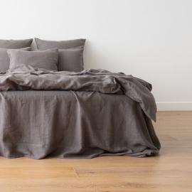 Gewaschene Bettwäsche Bettlaken Graphite