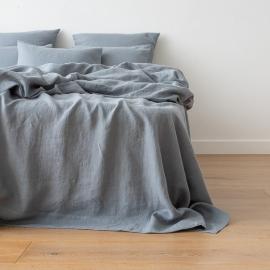Gewaschene Bettwäsche Bettlaken Slate Blue