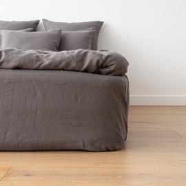 Gewaschene Bettwäsche Bettlaken mit Gummizug Graphite