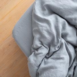 Gewaschene Bettwäsche Bettlaken mit Gummizug Slate Blue