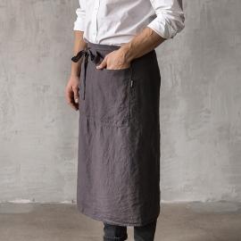 Vorgewaschene Leinen Chef's Herren Schürze Grey