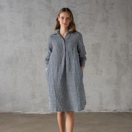 Navy Check Leinen Kleid Camilla