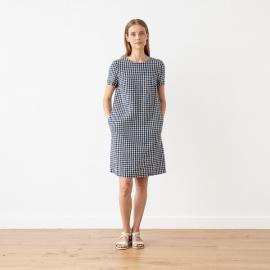 Navy Check Leinen Kleid Isabella