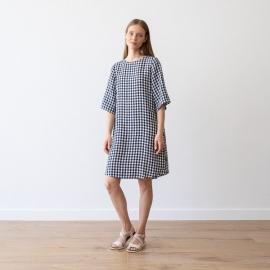 Navy Check Leinen Kleid Luisa