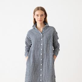 Navy Check Leinenhemd Kleid Paula