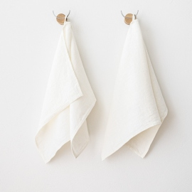 Set mit 2 Handtüchern aus Leinen aus weißem Twill